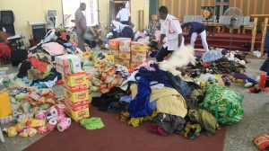 Food items, sanitary items and clothes donated