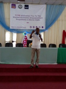 Sesor's Programme Officer (Maiduguri), Edmond Joseph, addressing the women