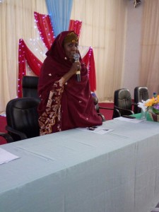 State Commissioner for Intergovernmental Affairs, Mrs Isha Abdulrahaman, giving her speech