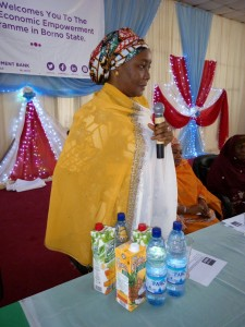 FCMB Maiduguri Branch Manager, Hajiya Fatima Zaifada, giving her welcome speech